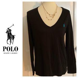 Polo Ralph Lauren V-Neck  Long Sleeve Tee. Sz L